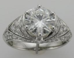 2.14 carat round diamond set in a classic mount