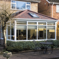 Edawardian conservatory with Guardian warm tiled r