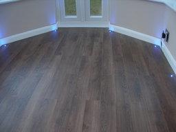 Walnut Laminate Flooring with lights installed