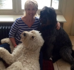 With her two dogs, Teddy and Bonnie