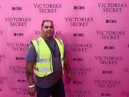 working on set at earls court London Victoria secret