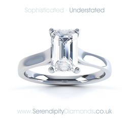 Emerald cut diamond engagement rings. One of many understated diamond choices, offering a subtle alternative to the modern brilliant cut diamond.