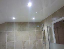 Low voltage halogen lighting in a PVC ceiling in a newly fitted bathroom