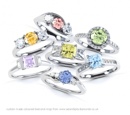 Coloured diamond engagement rings