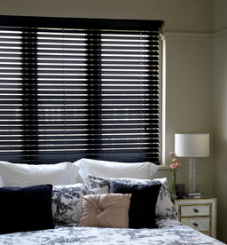 Black Wooden Venetian Blinds With Cords