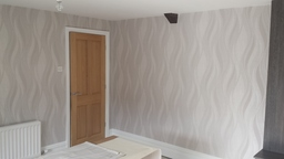 papered bedroom