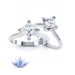 Princess diamond engagement rings. Style R1D012. Compass setting. Tiffany style design.