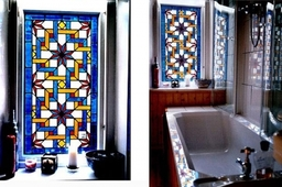Islamic window for a bathroom designed and made by Artisan Stained Glass