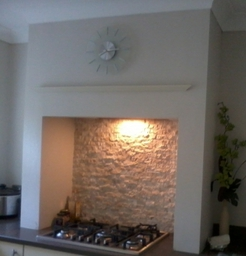 Inglenook surround built with stud work and plaster board
