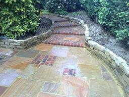 Mixed Indian Sandstone and Brick paving for Sunken Garden
