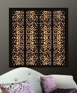 Black metal window shutters with perforated lights