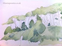 Watercolour work at The Open Studios, Brighton Art Workshops