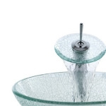 Round Transparent Tempered Glass Vessel Sink With Pop Up And Mounting Ring