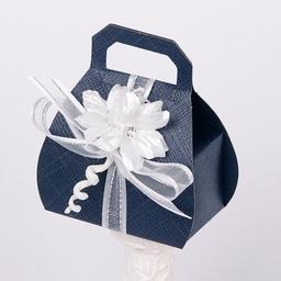 Wedding Favour Box - Silk Navy And White Design - Hand Bag
