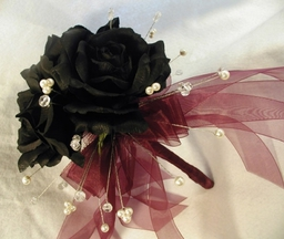 """Heaven"" - Triple Roses with Swarovski Crystals & Pearls and Burgundy Ribbon Bouquet"