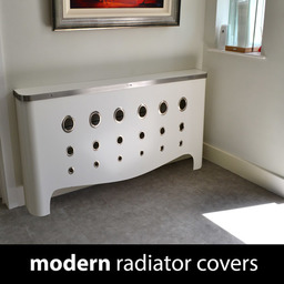 Modern white bespoke radiator covers