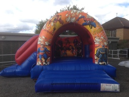 Large outdoor super hero with slide