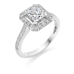 Radiant cut diamond deco ring designed by Avanti