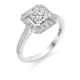 Radiant cut diamond deco ring designed by Avanti