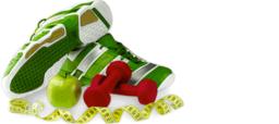 running shoes, apple, dumbbells & tape measure