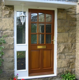 Oak door in white frame