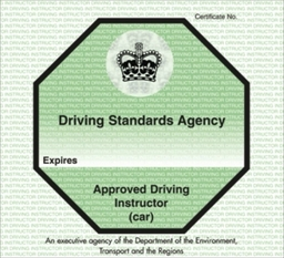 The green ADI badge for fully qualified Approved Driving Instructors