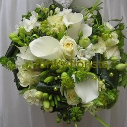 Lime green with creams, hand tied posy