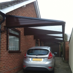 Cantilever Carport with Brown Beams