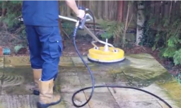 Pressure washing a patio in Cambridgeshire
