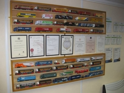 A wall of certificates