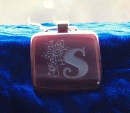 Fused Square Pendant in Cranberry - Engraved by Frosted Lime Ltd
