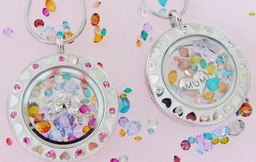 Sparkling crystals inside our living lockets