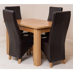 Hampton 120cm - 160cm Extension Dining Table & 4 Brown Lola Leather Chairs