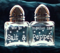 Salt And Pepper Cruet Set - Engraved by Frosted Lime Ltd