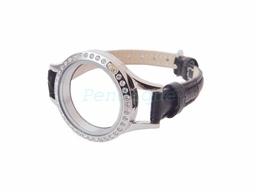 Genuine black leather watch style floating locket