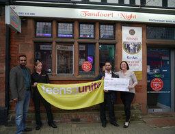 andoori Nights, Hoddesdon, donates £1,620 to Teens