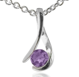 Silver and amethyst wish pendant