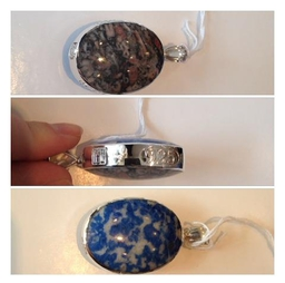 Handmade double sided sterling silver pendant