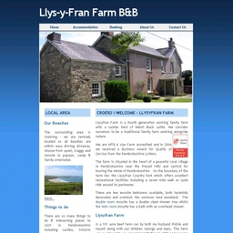 Llysyfran Farm, Bed and Breakfast website hosted by LJ Computers.