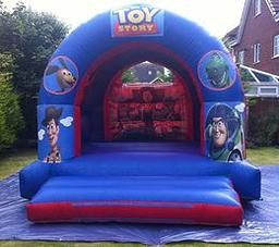TOY STORY BOUNCY CASTLE This Bouncy Castle is suitable for Children up to 15 years of age only The Castle can hold 6 to 8 users at a time There is a sewn in rain cover which is suitable for light rain The required space for this Bouncy Castle is 15 X 17 X