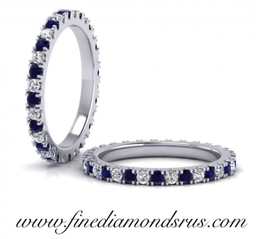 Blue Sapphire & Round Brilliant Cut Diamonds Full Eternity Ring in Platinum at Fine Diamonds R us