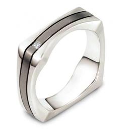 Twin colour diamond set Wedding ring