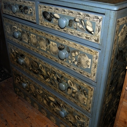 Painted 19th century chest with shell decoupage