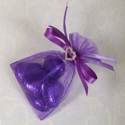 Wedding Favour - Ready Made Organza And Diamante Pouch