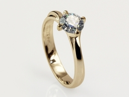 Gentle Embrace Engagement Ring - 18ct Yellow Gold and Round Brilliant Diamond