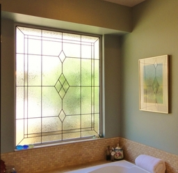 Bathroom Stained Glass Window Design -  Diamond