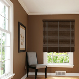 Rich Mahogany Wooden Venetian Blinds With Tapes