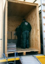 safely loaded good's for storage into the container at you door.