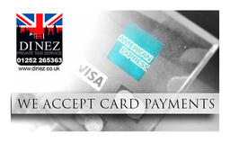 Accepts card payments including AMEX, Dinez Taxis