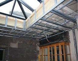 MF ceiling grid prior to plasterboarding.